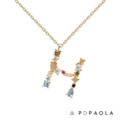 PD PAOLA 西班牙輕奢時尚品牌 字母H 彩鑽寶石項鍊