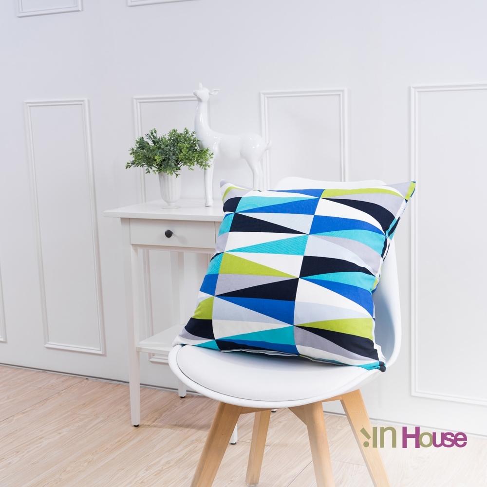 IN HOUSE 簡約系列抱枕-放射三角藍(50x50cm)