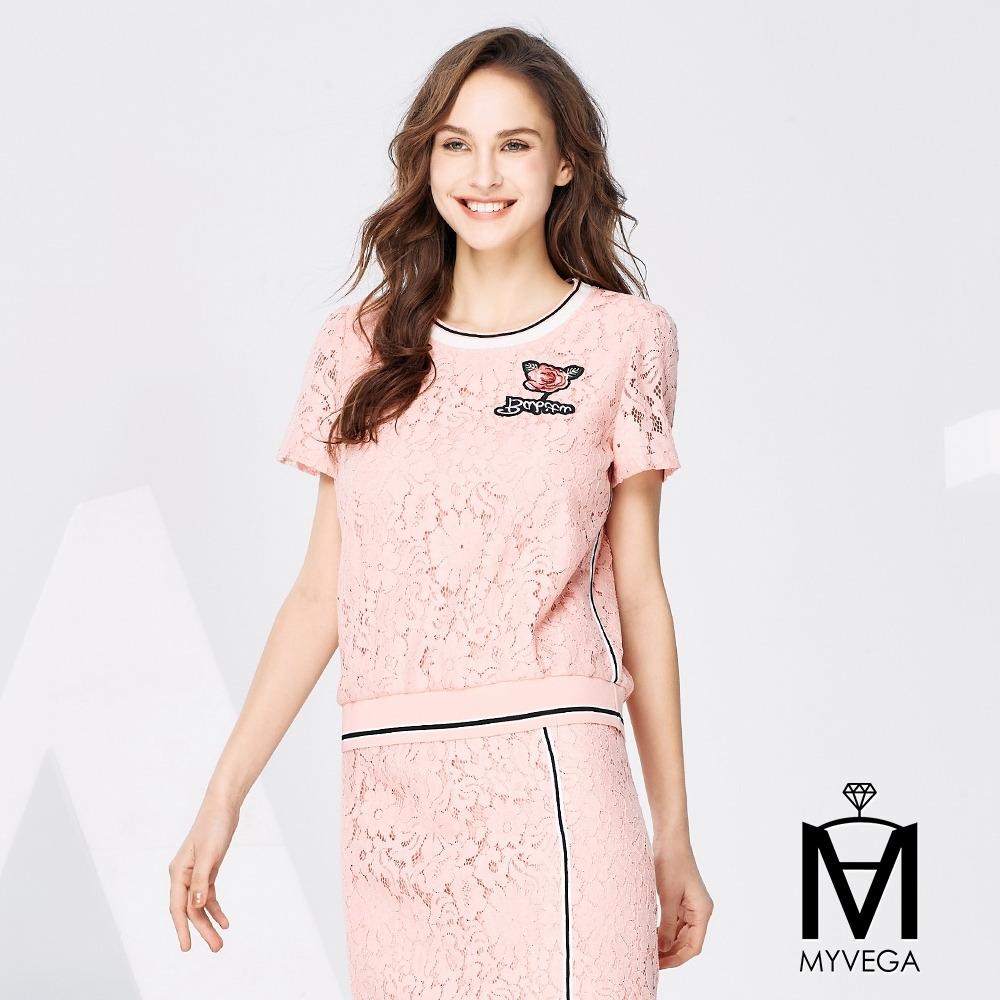 MYVEGA麥雪爾 MA滿版鏤空蕾絲雕花造型上衣-粉