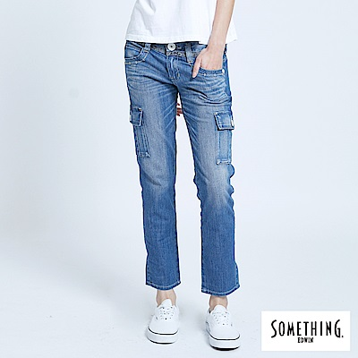 SOMETHING 蕾絲雙層腰頭牛仔工作褲-女-拔淺藍
