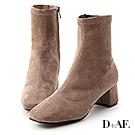 D+AF 秋冬定番.素面合腿中跟方頭襪靴*灰棕