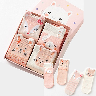 保暖寶寶中筒卡通童襪4雙組-粉嫩狐狸