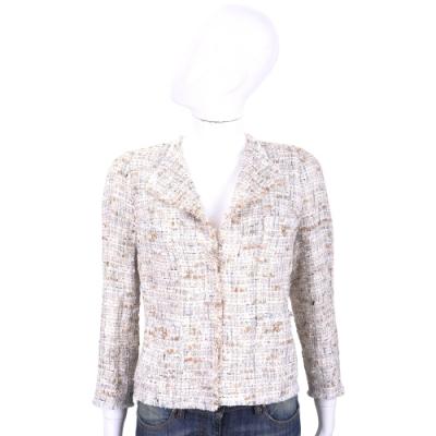 EDWARD ACHOUR PARIS 珍珠花釦米棕色短版毛呢外套