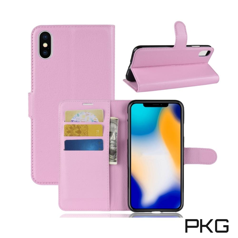 PKG Apple IPhone XS MAX 側翻式皮套-經典皮套系列-粉色 @ Y!購物