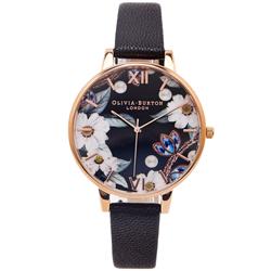 OLIVIA BURTON 珍珠與菊花共舞款手錶-花朵面/38mm