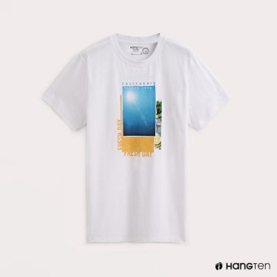 Hang Ten-男裝烈日照片印花T恤-白