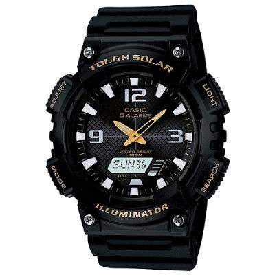 CASIO 型男個性太陽能雙顯錶-黑錶帶/金指針(AQ-S810W-1B)/52mm