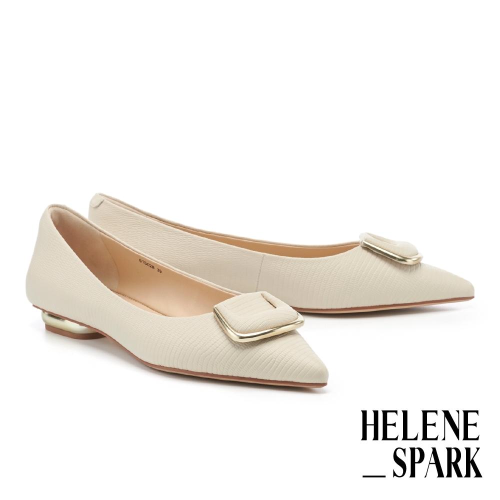 平底鞋 HELENE SPARK 時尚氣質金屬梯釦全真皮尖頭平底鞋-白