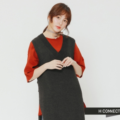 H:CONNECT 韓國品牌 女裝 - V領長版針織背心-深灰(快)