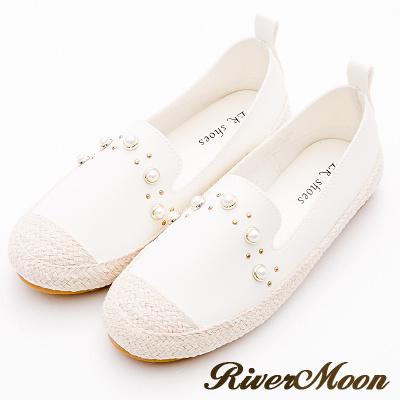 River&Moon大尺碼-韓版珍珠拼接麻編懶人鞋-白
