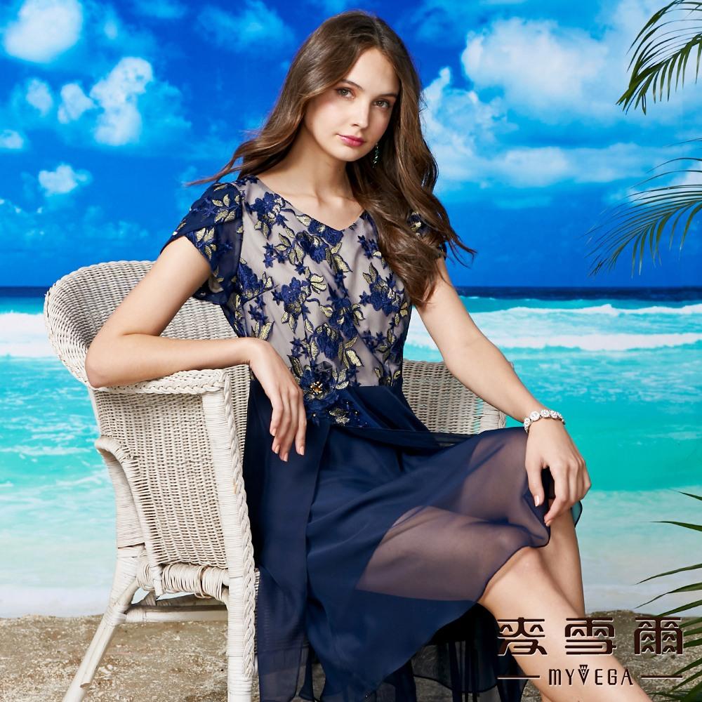 【麥雪爾】氣質雕花鏤空雪紡拼接洋裝 @ Y!購物