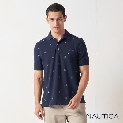 Nautica多彩海龜吸濕快乾短袖POLO衫-藍