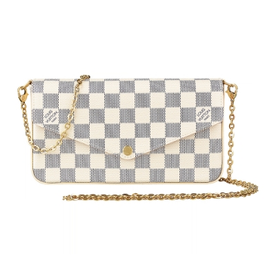 LV N63106棋盤格LOGO Damier Azur 帆布鏈帶扣式斜背手拿長夾(芭蕾粉