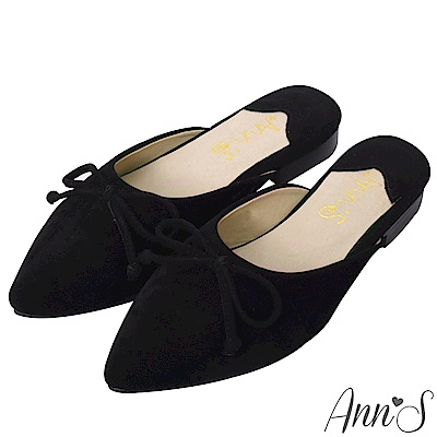 Ann'S韓國歐妮-氣質蝴蝶結平底尖頭穆勒鞋-黑(版型偏小)