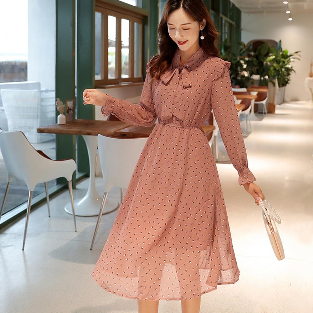 初色  高腰系帶波點長袖雪紡連衣裙-豆沙紅-(M-XL可選)