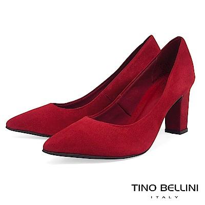 Tino Bellini巴西進口性感氣勢切割皮紋跟鞋_紅