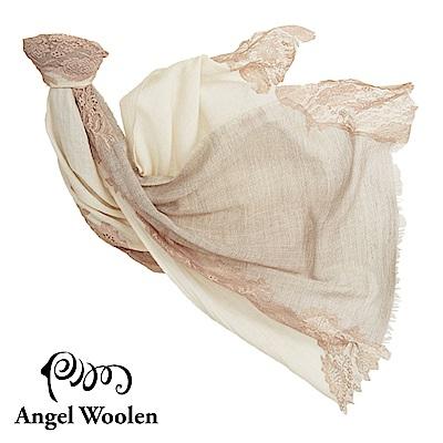 【Angel Woolen】時間秘境印度手工cashmere蕾絲披肩-米駝