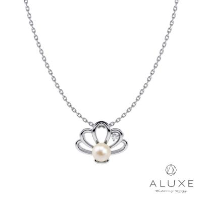 ALUXE 亞立詩Ocean Of Love小美人魚系列 10K金貝殼愛戀珍珠項鍊