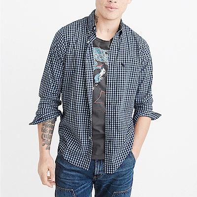 麋鹿 AF A&F 經典刺繡麋鹿長袖襯衫-藍格紋色