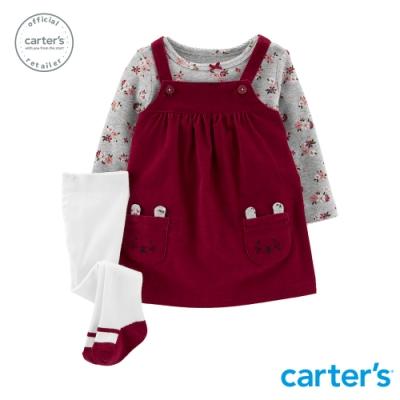 Carter's台灣總代理 典雅碎花3件組吊帶裙套裝