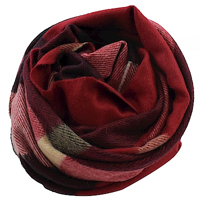 BURBERRY 經典格紋喀什米爾羊毛圍巾/大方金(紅黑)