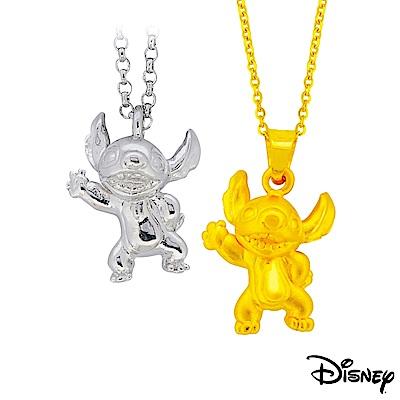 迪士尼系列金飾 立體純銀墜子-焦點史迪奇款+立體黃金墜子-焦點史迪奇款