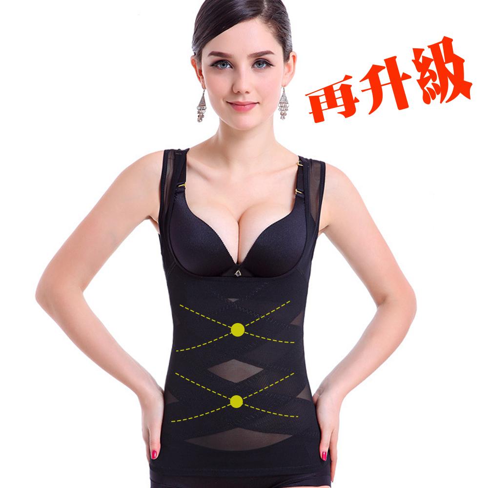 塑身衣 420丹2次方雙X加壓 ThreeShape 晶鑽黑 L-Q