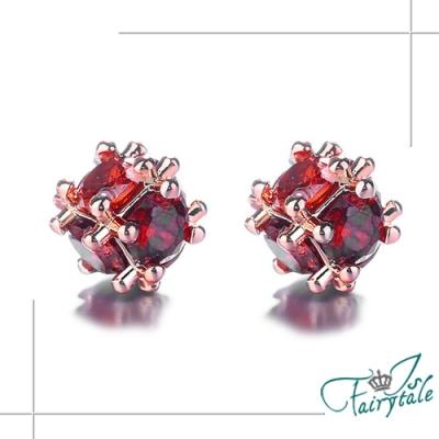 iSFairytale伊飾童話 紅繡球晶鑽 玫瑰金銅電鍍耳環