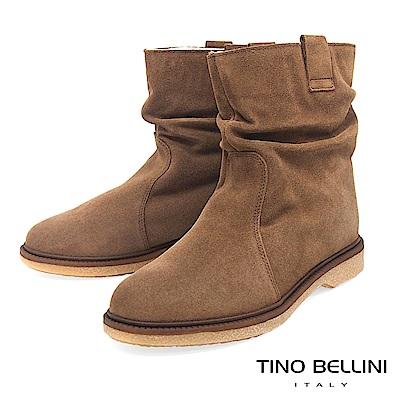 Tino Bellini義大利進口自然抓皺內鋪毛平底中筒靴_駝