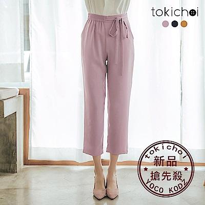 東京著衣-細膩品味腰綁帶雪紡多色西裝長褲-S.M.L(共三色)