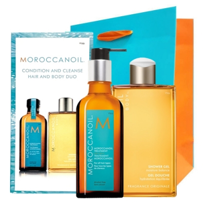 *MOROCCANOIL 摩洛哥優油 三件限量禮盒(125ml+沐浴膠250ml+紙袋)