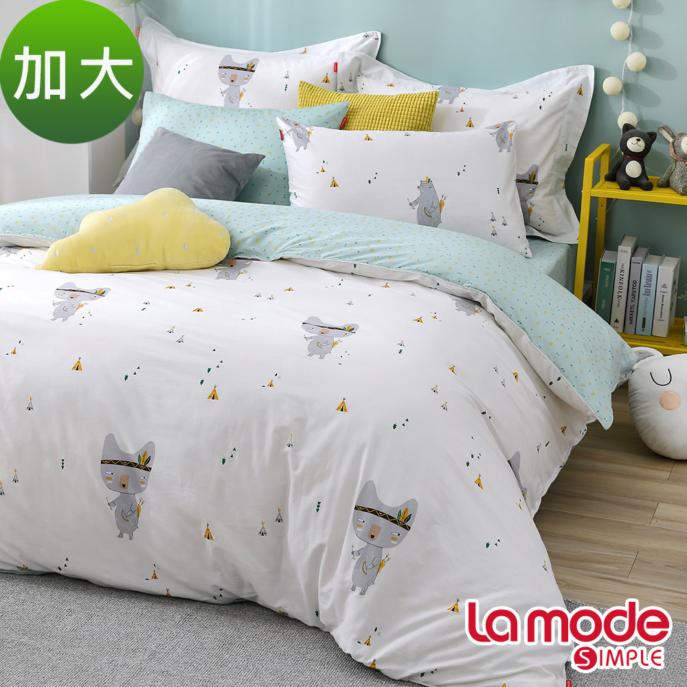 La Mode寢飾 勇士之舞100%精梳棉兩用被床包組(加大)