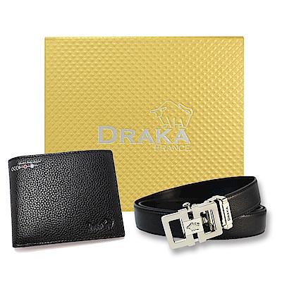 DRAKA 達卡 - 黃金禮盒 真皮皮夾+自動皮帶-6014