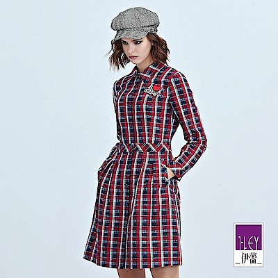 ILEY伊蕾 愛心貼繡緹織格紋洋裝(紅)