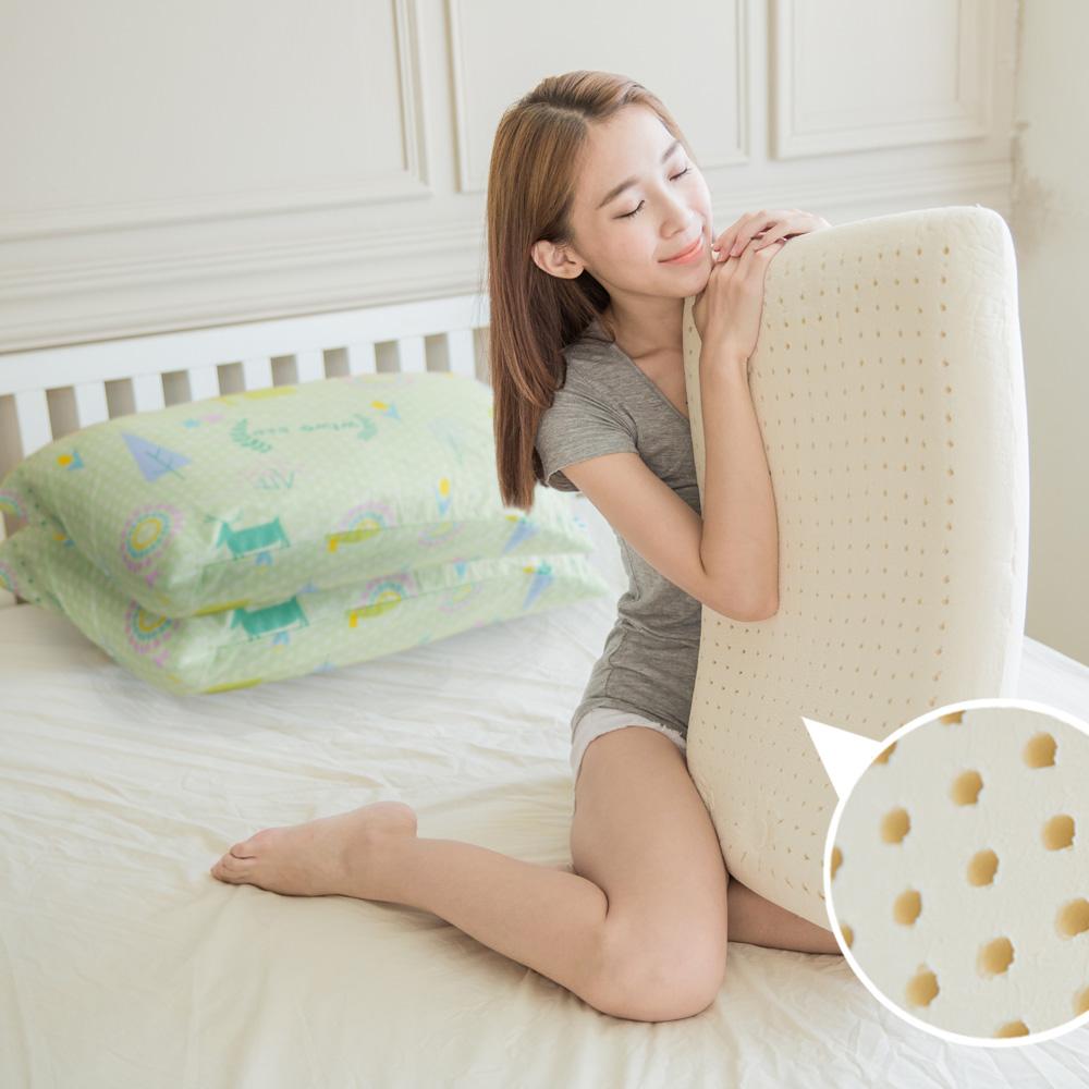 米夢家居-夢想家園系列-成人專用-馬來西亞進口純天然麵包造型乳膠枕-青春綠二入