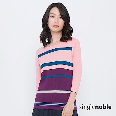 獨身貴族 藝術秘境交錯色塊條紋針織衫(2色)