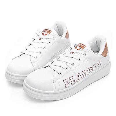 PLAYBOY 字母仿皮綁帶休閒鞋-白金-Y571015