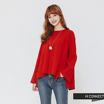 H:CONNECT 韓國品牌 女裝-設計感綁結針織上衣-紅