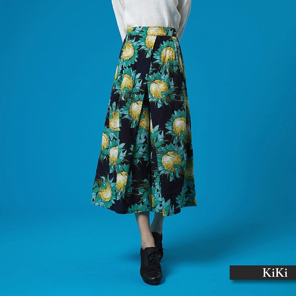 【KiKi】太陽花剪裁寬-長褲(二色)