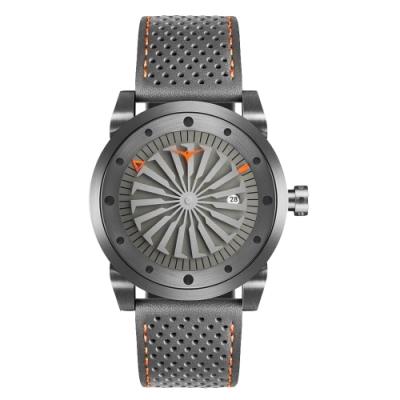 ZINVO 突破傳統渦輪機械皮革腕錶-灰(BETHS)/44mm