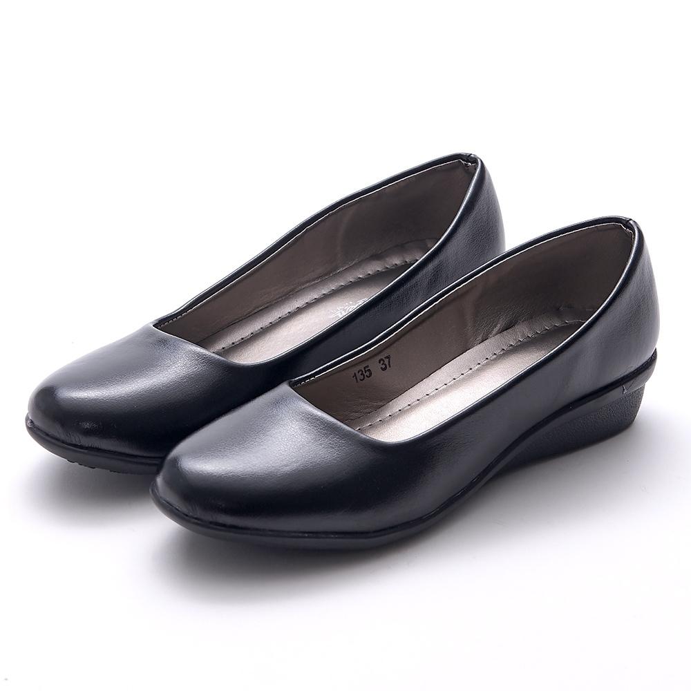 A one 素面上班鞋小坡跟 低跟鞋-黑色