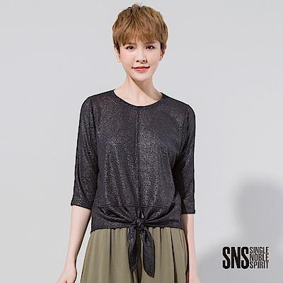 SNS 下擺扭結綁帶設計七分袖上衣(2色)