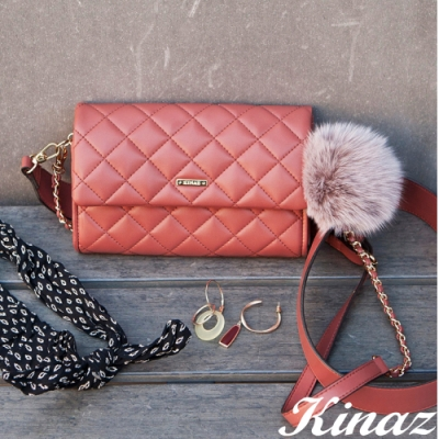 KINAZ 雙背帶菱格手拿斜背腰包-甜桃紅唇-龐克女孩系列-快