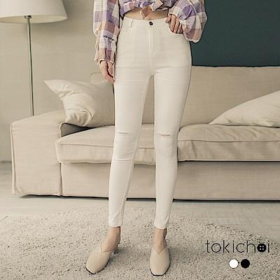 東京著衣 吃土也要敗小破壞設計窄管牛仔褲-S.M(共二色)