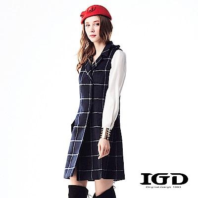 IGD英格麗 英式格紋肩章翻領無袖洋裝-深藍
