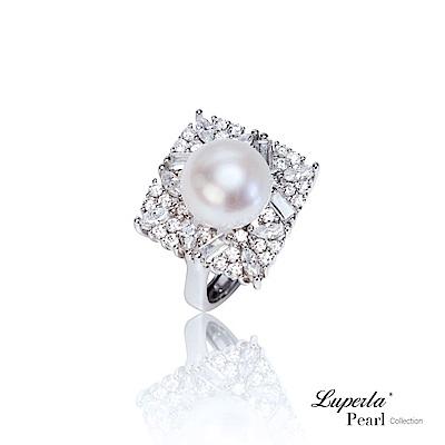 大東山珠寶 純銀晶鑽天然珍珠戒指  璀璨光芒