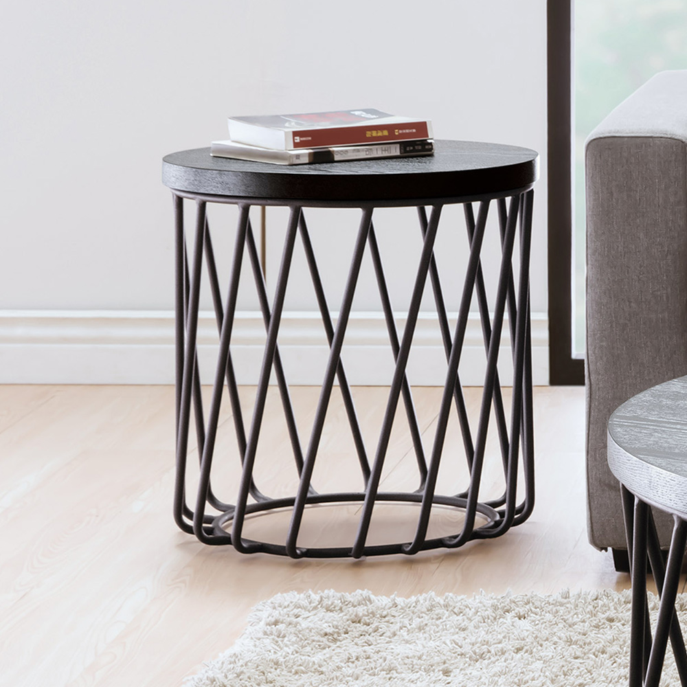 Boden-傑思1.6尺圓形黑色小茶几/邊桌-47x47x50cm