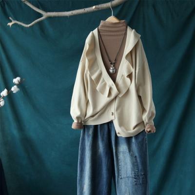 荷葉花邊V領針織開衫長袖毛衣寬鬆外搭上衣-設計所在