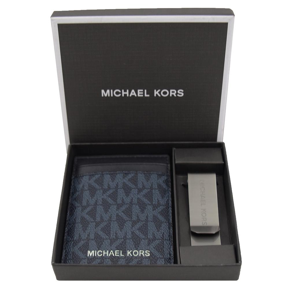MICHAEL KORS GIFTING經典PVC簡易卡片鈔票夾(深海藍/禮盒組)
