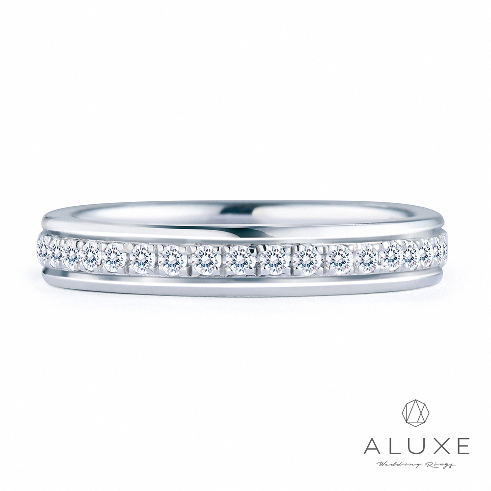 A-LUXE 亞立詩 18K金 0.48克拉鑽石情侶戒指-女戒